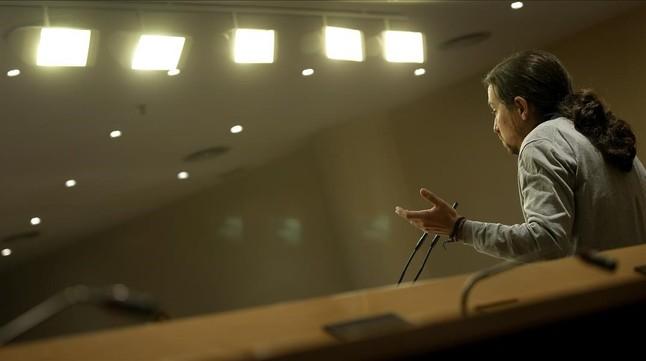Pablo Iglesias durante una comparecencia en el Congreso de los Diputados.