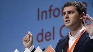 ALbert Rivera, durante su intervención en la asamblea general de Ciudadanos.