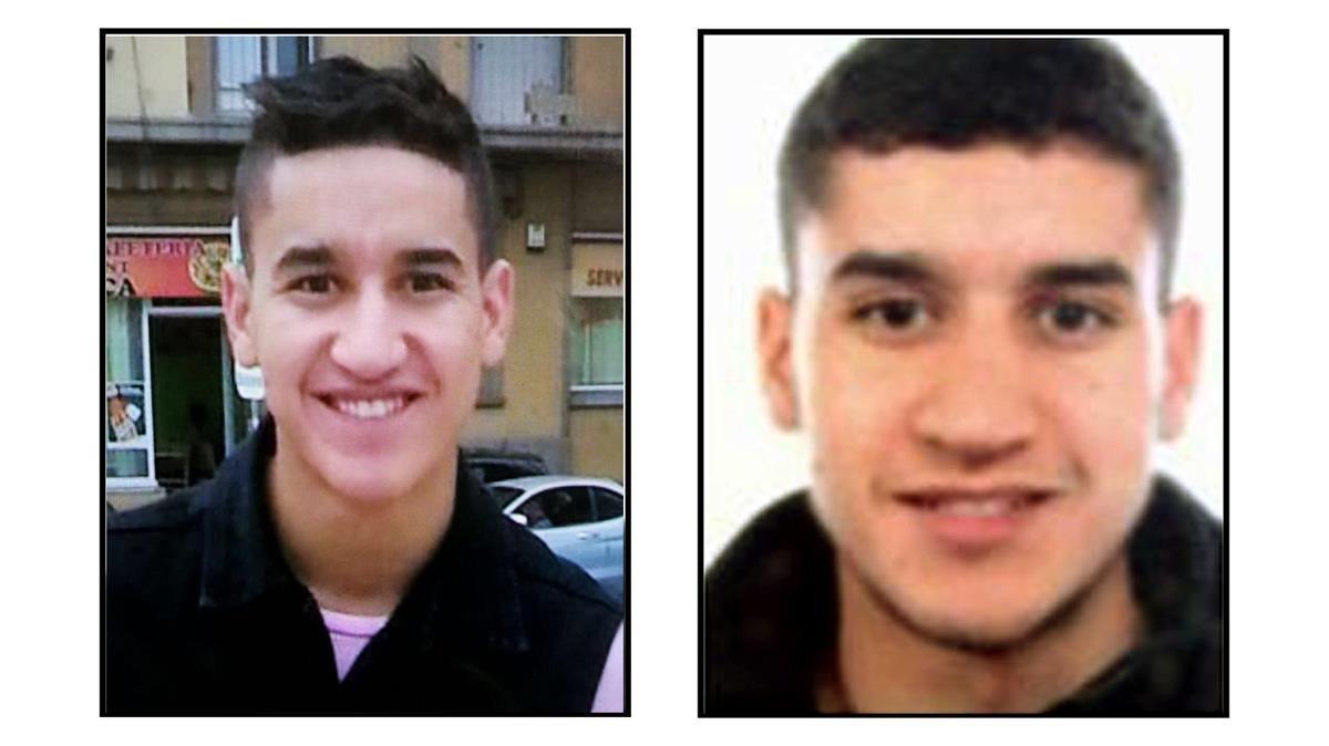 Dos fotografías de Younes Abauyaaqoub, el terrorista más buscado por los Mossos en estos momentos.