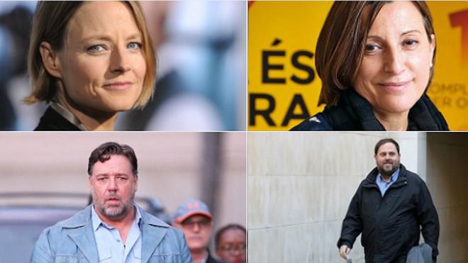 Arriba, Jodie Foster junto a Carme Forcadell. Debajo, Russell Crowe y Oriol Junqueras.