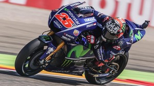 Maverick Viñales (Yamaha), durante su vuelta rápida de hoy en Motorland.