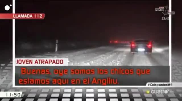 Respuesta del 112 a un vehículo atrapado por el temporal en el Angliru
