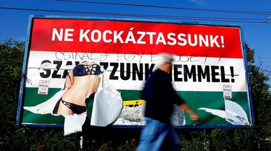 Cartel de la campa�a gubernamental por el 'no' en el refer�ndum de Hungr�a.