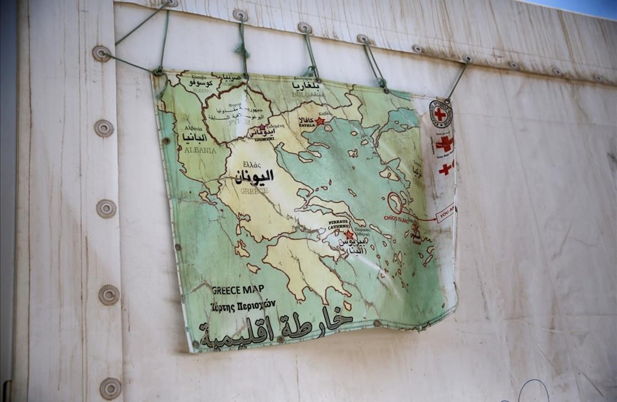 lpedragosa35409729 a map of greece hangs on a tent at the souda municipality ru160906225825