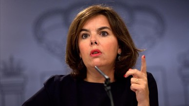 La vicepresidenta, Soraya S�enz de Santamar�a, este viernes tras el Consejo de Ministros.