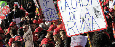Protesta de trabajadores de Coca-Cola.