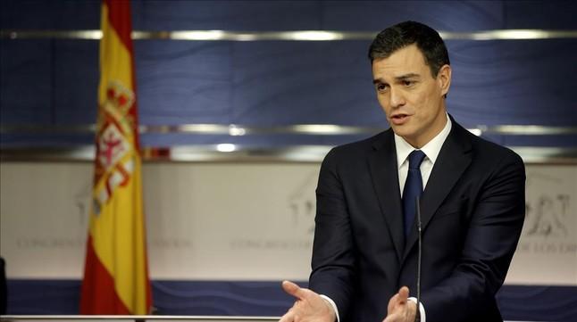 Pedro Sánchez, el pasado viernes en el Congreso, tras su entrevista con el Rey.