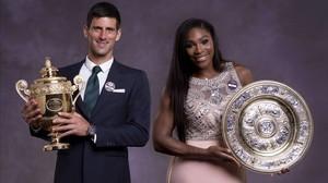 Novak Djokovic y Serena Williams, durante un acto el pasado verano