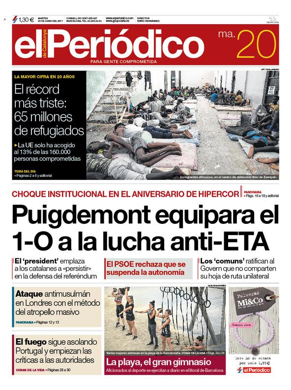 La portada de EL PERIÓDICO del 20 de junio del 2017.
