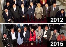 Arriba, diputados de CiU en el Parlament, con corbata. Abajo, diputados de JxS�, tambi�n en el parlament, pero sin corbata