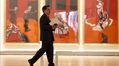 Aspecto de 'Tres estudios para una crucifixi�n' (1962) de Bacon, este jueves en el Guggenheim.