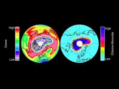 Disminución de ozono en el Ártico.