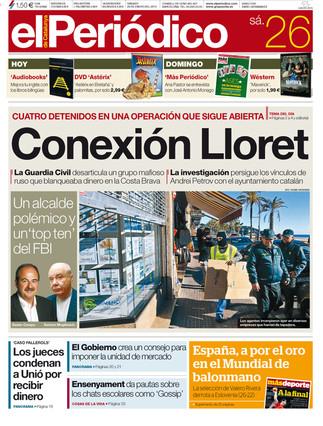 """""""Conexi�n Lloret"""", en la portada de EL PERI�DICO"""
