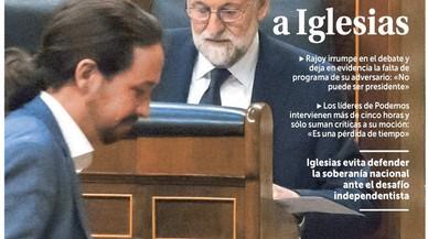 Rajoy salva la moció de censura d'Iglesias, proclama el quiosc, més o menys