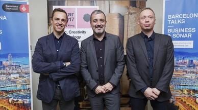 Ventura Barba, Jaume Collboni y Mike Hill, director ejecutivo de Magnetic Asia, en la presentación de Sónar Hong Kong.