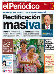 La portada de EL PERIDICO del 10-7-2012.