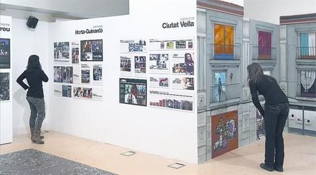 Sala de la exposición donde se pueden ver las iniciativas de dos distritos y parte de las 'Façanes de Barcelona'.