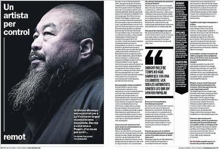SUPLEMENTOS DE'EL PERI�DICO' 3 El semanario 'Time Out', ma�ana, y el suplemento Dominical, el pr�ximo domingo, realizan una amplia cobertura informativa de la exposici�n que La Virreina dedicar� a Ai Weiwei a partir del martes de la pr�xima semana. 'Time Out' ha entrevistado al controvertido artista chino en su estudio de Pek�n y Dominical -que le dedica la portada- dibuja un perfil del creador y recorre la muestra en la que se exhibir�n 42 de sus obras.