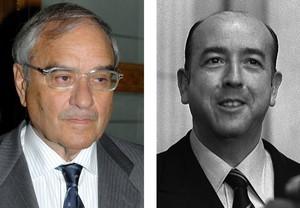 Fotografía de archivo del exministro de la transición Rodolfo Martín Villa (i) y del exministro franquista José Utrera Molina.