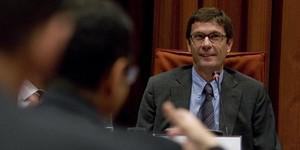 Xavier Tauler en la Audiencia Nacional declarando ante el juez Ruz, en una foto de archivo.