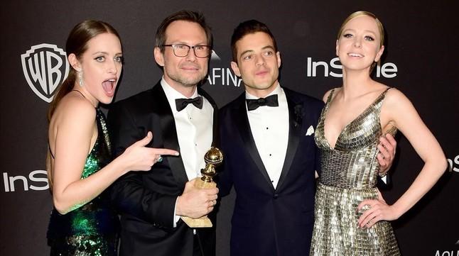 Carly Chaikin, Christian Slater, Rami Malek y Portia Doubleday, de Mr. Robot.