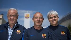 Naval, Ibarz y Muñoz (de izquierda a derecha), en la ciudad deportiva.