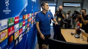 Valverde, en la sala de prensa de la ciudad deportiva.