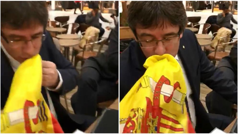 ¿Qué hace Puigdemont besando la bandera de España en Copenhague?