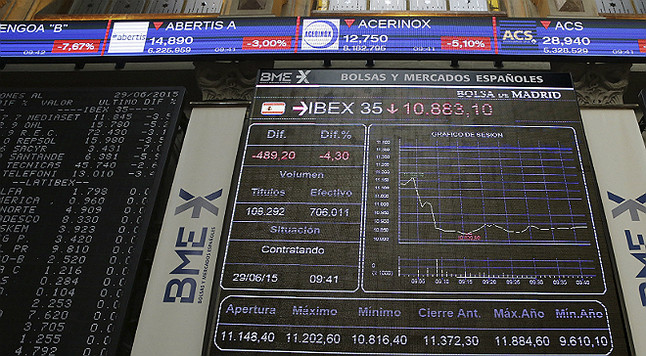 La bolsa baja el 4,56% ante la inestabilidad de Grecia