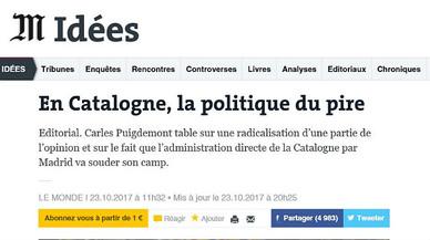 Editorial de 'Le Monde': L'independentisme ven il·lusió i prefereix la política del pitjor