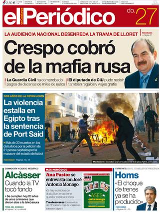 """""""Crespo cobró de la mafia rusa"""", en la portada de EL PERIÓDICO"""