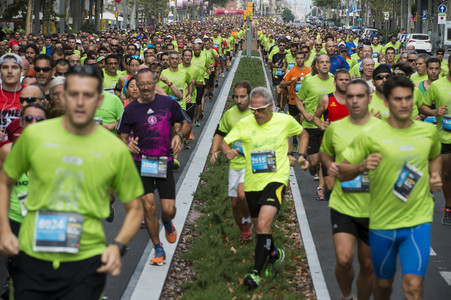 Els corredors, a l'avinguda del Paral·lel.