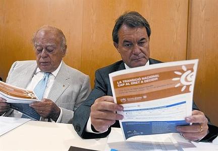 Jordi Pujol y Artur Mas, ayer en la reunión de la ejecutiva de CDC.