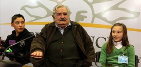 El presidente de Uruguay, Jos Mujica, en un encuentro de nios y adolescentes, en Montevideo, el da 12 de junio.