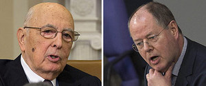El presidente de Italia, Giorgio Napolitano (izquierda) y el l�der del SPD alem�n, Peer Steinbr�ck.