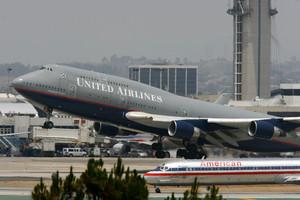 Un avión de United Airlines, en Los Ángeles.