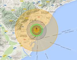 El alcance que tendría una bomba Tsar si explotase en el centro de Barcelona.