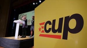 Imagen de la sede electoral de la CUP en los comicios del 27-S.