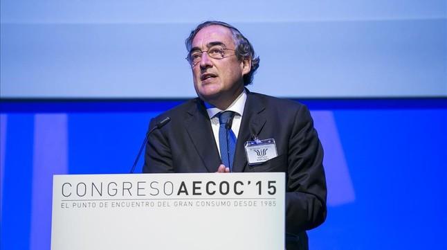Juan Rosell, presidente de la patronal CEOE, en el congreso de AECOC