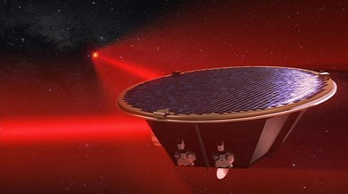 Imagen de concepto de LISA,próxima misión de la ESA dedicada a la busqueda de ondas gravitacionales.