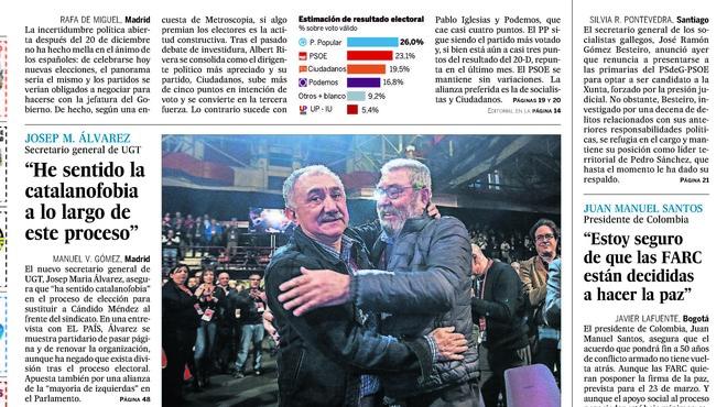 'El País' i 'El Mundo' amonesten editorialment el líder ugetista Alvarez per català