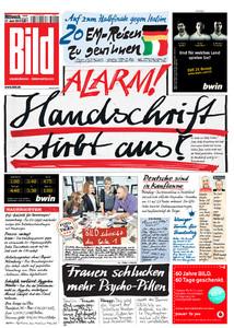 Portada del diario alemán 'Bild'.