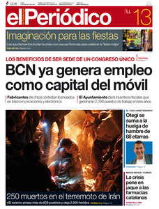 La portada del diario de este lunes.