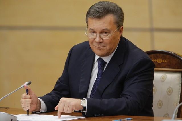 El depuesto presidente de Ucrania, Víktor Yanukóvich, en rueda de prensa en Rostov del Don, Rusis, hoy