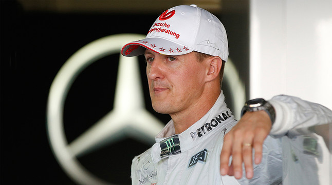 Michael Schumacher, en el box de Mercedes en el circuito de Suzuka, en octubre del 2012