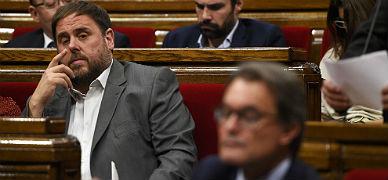 Junqueras y Mas, en el Parlament, el pasado d�a 15.
