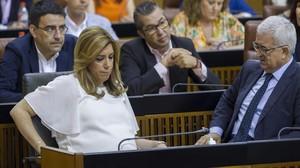 Susana Díaz, aquest dijous, durant la tercera votació sobre la investidura al Parlament andalús.