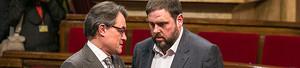 Artur Mas y Oriol Junqueras, en el Parlament.