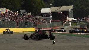 El Toro Rosso de Sainz, destrozado en Spa el año pasado