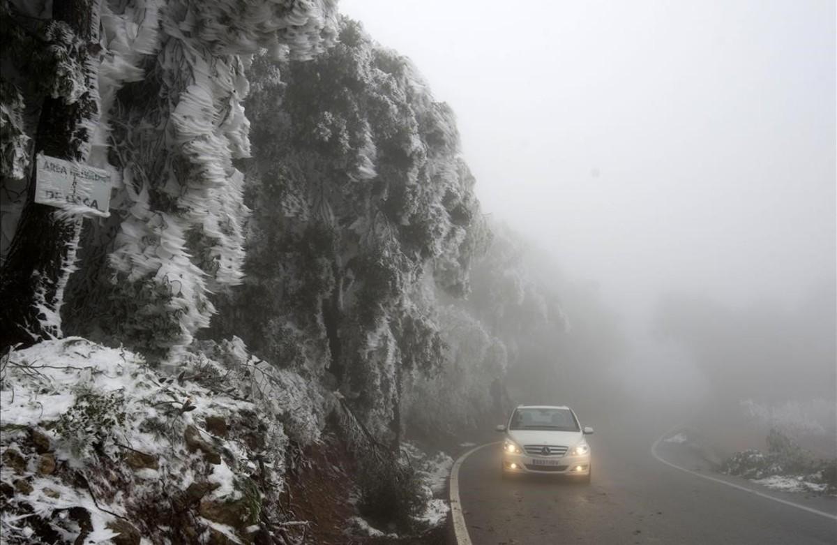 Boira i gel, a la carretera de Villalba dels Arcs, a la Terra Alta.